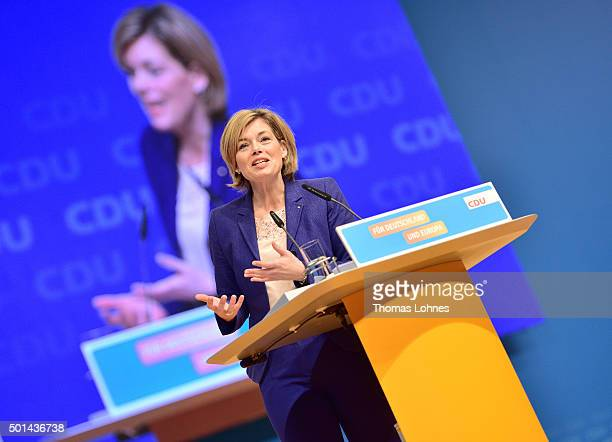 Deputy chairwoman of CDU party Julia Kloeckner speaks at the annual CDU federal congress on December 15 2015 in Karlsruhe Germany The CDU is meeting...
