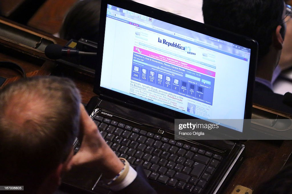 A deputy checks the results as Parliament votes for President of Republic on April 19, 2013 in Rome, Italy. More than 1,000 politicians gathered in the lower house of parliament for the second day to vote in a successor for Giorgio Napolitano.