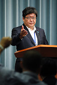 Deputy Chief Cabinet Secretary Koichi Hagiuda speaks during a press conference at Prime Minister Shinzo Abe's official residence on July 2 2016 in...