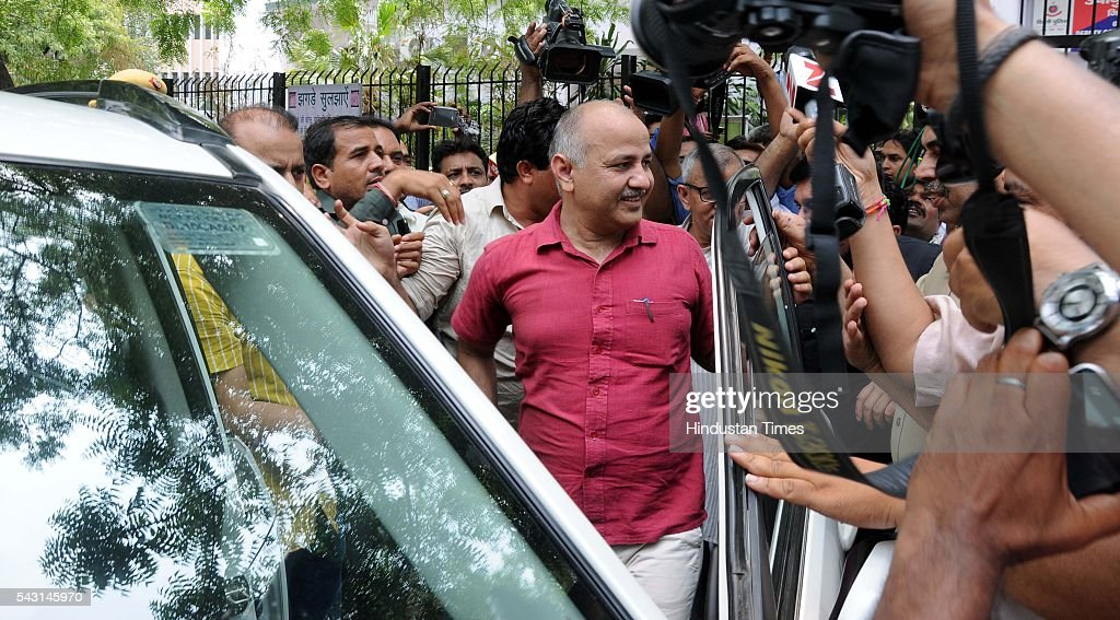 Deputy Chief Minister Manish Sisodia and 52 AAP MLAs were released by Delhi Police after a four-hour detention at parliament street police station while they were on their way 'to surrender' before Prime Minister Narendra Modi at 7 RCR, on June 26, 2016 in New Delhi, India. The planned protest was scheduled a day after AAP MLA Dinesh Mohaniya's arrest and the consequent Emergency remark made by Delhi Chief Minister Arvind Kejriwal.
