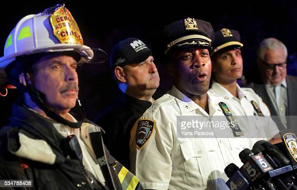 Deputy Chief Rodney Harrison speaks during a press conference near the 79th St Boat Basin of the Hudson River into which a vintage World War II plane...
