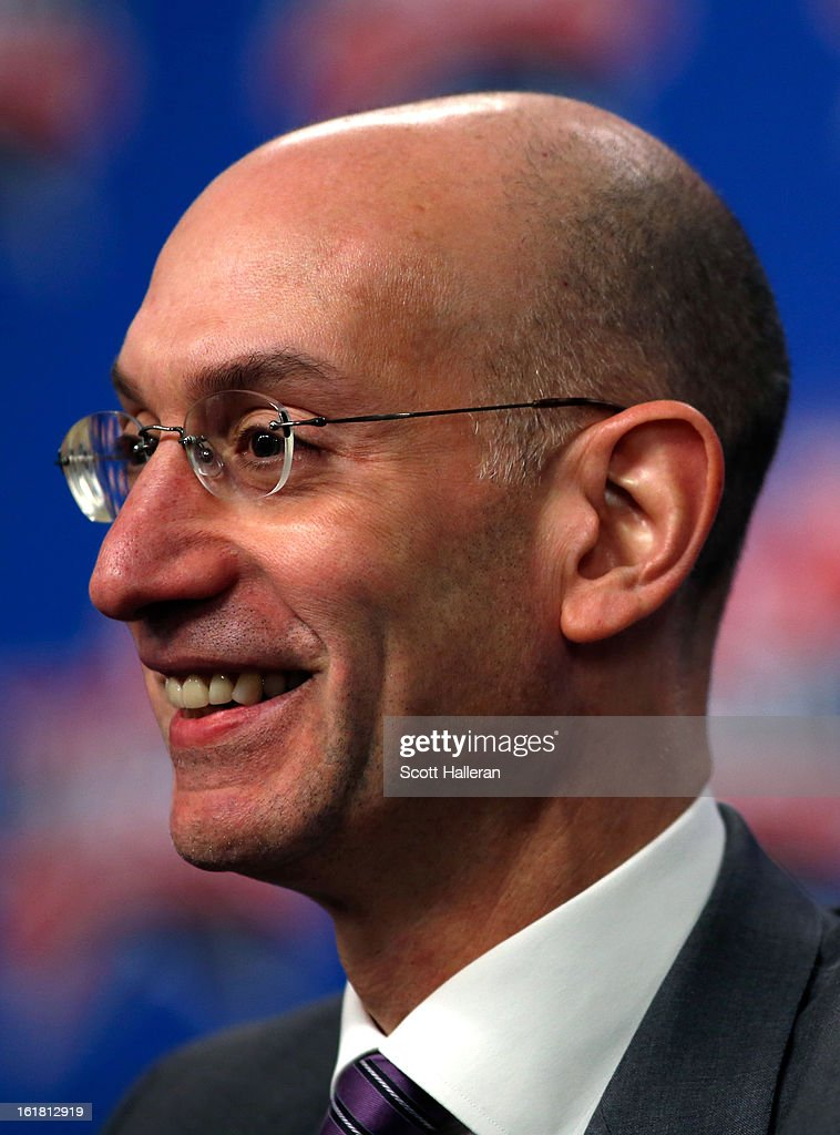 Deputy Commissioner <a gi-track='captionPersonalityLinkClicked' href=/galleries/search?phrase=Adam+Silver&family=editorial&specificpeople=679055 ng-click='$event.stopPropagation()'>Adam Silver</a> addresses the media before NBA All-Star Saturday Night part of 2013 NBA All-Star Weekend at the Toyota Center on February 16, 2013 in Houston, Texas. Silver will succeed NBA Commissioner David Stern on February 1, 2014.
