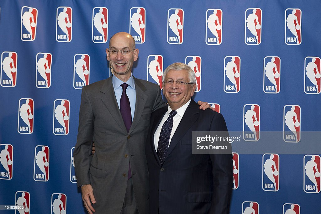Deputy Commissioner <a gi-track='captionPersonalityLinkClicked' href=/galleries/search?phrase=Adam+Silver&family=editorial&specificpeople=679055 ng-click='$event.stopPropagation()'>Adam Silver</a> and NBA Commissioner <a gi-track='captionPersonalityLinkClicked' href=/galleries/search?phrase=David+Stern&family=editorial&specificpeople=206848 ng-click='$event.stopPropagation()'>David Stern</a> pose for a portrait after the Board of Governors meeting during a press conference at the St. Regis Hotel on October 25, 2012 in New York City.