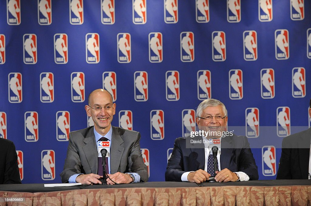 Deputy Commissioner Adam Silver and NBA Commissioner <a gi-track='captionPersonalityLinkClicked' href=/galleries/search?phrase=David+Stern&family=editorial&specificpeople=206848 ng-click='$event.stopPropagation()'>David Stern</a> address the media after the Board of Governors meeting at the St. Regis Hotel on October 25, 2012 in New York City.
