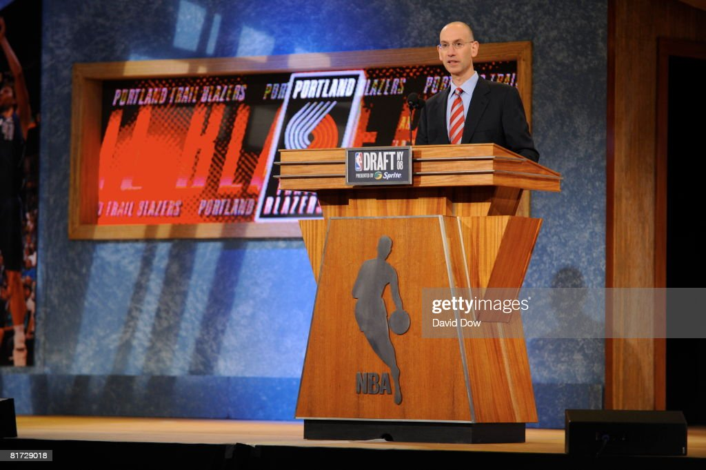 Deputy Commissioner Adam Silver announces the Portland Trailblazers' second round pick during the 2008 NBA Draft at the WaMu Theatre at Madison...