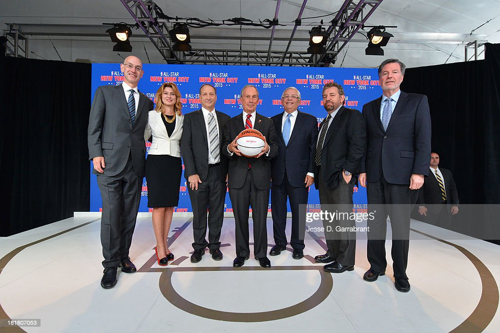Deputy Commissioner Adam Silver, Irina Pavlova, President, ONEXIM Sports and Entertainment Holding USA, Inc, Bruce Ratner, Majority Owner and developer of Barclays Center, Mayor Mike Bloomberg, NBA Commissioner David Stern, James L. Dolan, Executive Chairman The Madison Square Garden Company, and Hank Ratner , President and CEO, The Madison Square Garden Company poses for a photo at a press conference announcing that New York City will be the host of the 2015 NBA All-Star game on September 25, 2013 at the Industria Superstudio in New York City.