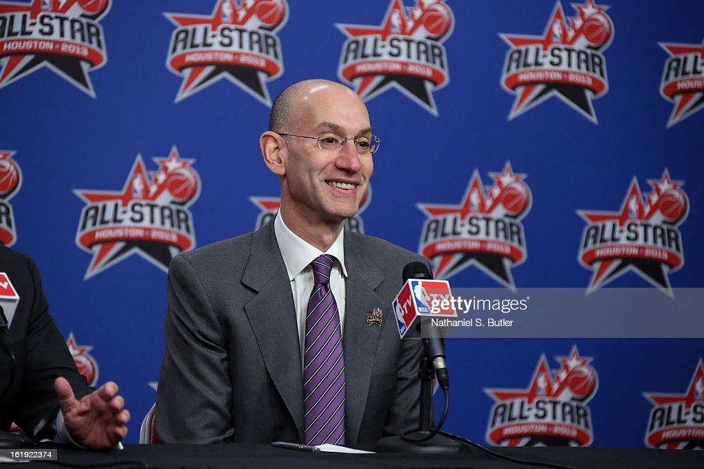 Deputy Commissioner <a gi-track='captionPersonalityLinkClicked' href=/galleries/search?phrase=Adam+Silver&family=editorial&specificpeople=679055 ng-click='$event.stopPropagation()'>Adam Silver</a> of the NBA addresses the media before State Farm All-Star Saturday Night of the 2013 NBA All-Star Weekend on February 16, 2013 at the Toyota Center in Houston, Texas.