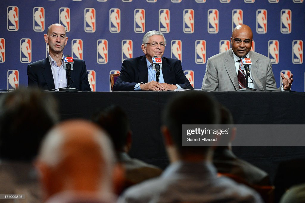 NBA Deputy Commissioner and Chief Operating Officer Adam Silver, NBA Commissioner David J. Stern, and President, Chief Operating Officer, and Alternate Governor Fred Whitfield of the Charlotte Bobcats address the media at the NBA Board of Governors Meeting on July 18, 2013 at the Wynn Hotel in Las Vegas, Nevada.