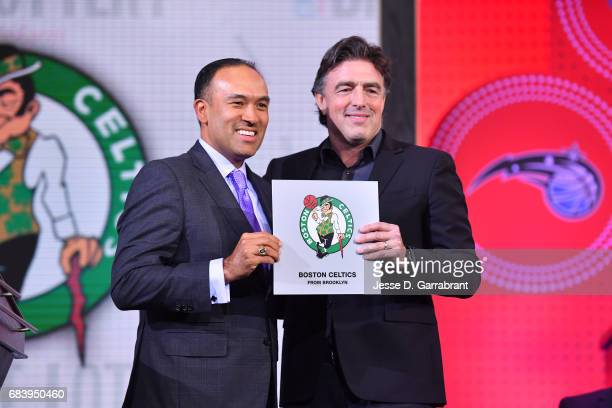 Deputy Commissioner of the NBA Mark Tatum poses for a photo with Wyc Grousbeck of the Boston Celtics after announcing the Boston Celtics 1 pick...