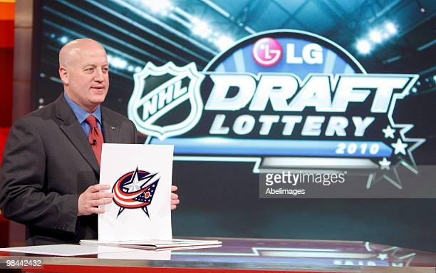 Deputy Commissioner of the NHL Bill Daly announces the fourth pick to go to the Columbus Blue Jackets during the NHL Draft Lottery Drawing at the TSN...