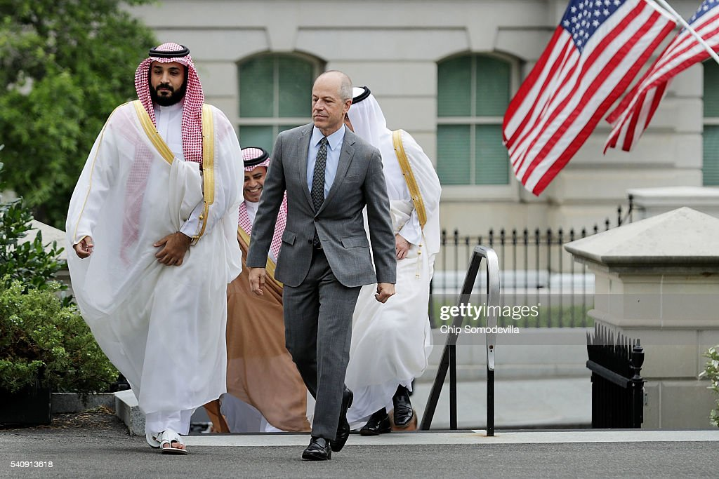 Deputy Crown Prince and Minister of Defense Mohammed bin Salman of Saudi Arabia (L) is escorted by U.S. Deputy Chief of Protocol Mark Walsh as they walk into in the White House on June 17, 2016 in Washington, DC. The deputy crown prince will meet privately with U.S. President Barack Obama to discuss issues 'including de-escalating regional conflicts, our campaign against ISIL, Saudi Arabia's National Transformation Program, and efforts to further progress on the objectives agreed to at the U.S.-GCC Summit in April,' according to the White House.