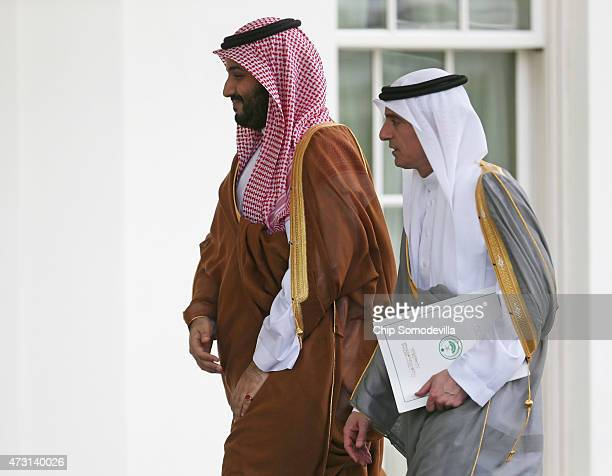 Deputy Crown Prince Mohammed bin Salman of Saudi Arabia and Saudi Minister of Foreign Affairs Adel AlJubeir arrive at the White House May 13 2015 in...