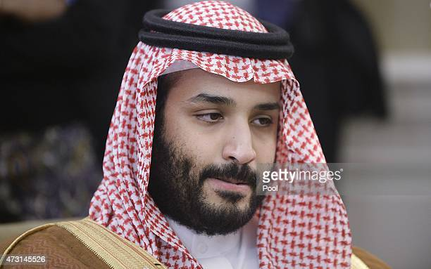 Deputy Crown Prince Mohammed bin Salman of Saudi Arabia looks on in the Oval Office at the White House May 13 2015 in Washington DC The Saudi...