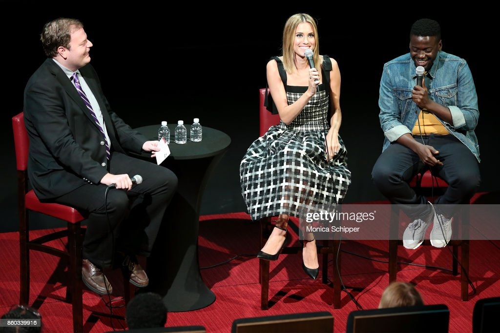 Deputy Culture Editor at BBC.com and event moderator Christian Blauvelt speaks with actors Allison Williams and Daniel Kaluuya when they attend SAG-AFTRA Foundation Conversations 'Get Out' + Allison Williams and Daniel Kaluuya at SAG-AFTRA Foundation Robin Williams Center on October 11, 2017 in New York City.