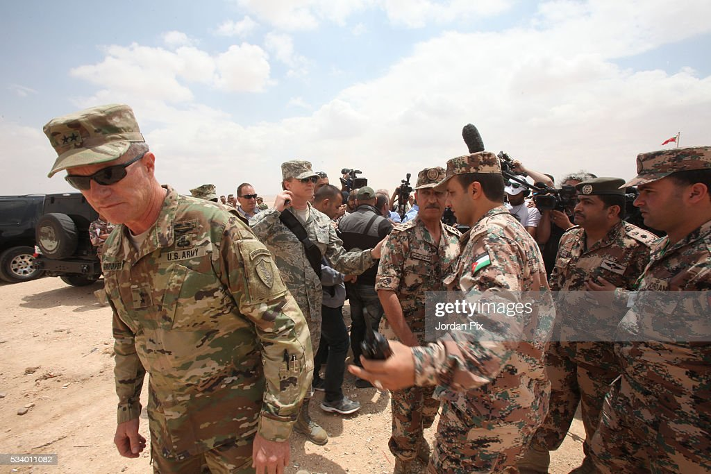 Deputy Director for United States Central Commandâs Plans and Programs Directorate Brigadier General Ralph Groover briefs journalists as Jordan Armed Forces, U.S. Army and U.S. Marine Corps forces conduct a combined Arms Live Fire Exercise that practices the synchronization of tactical maneuver, fire support assets and air power, during the Eager Lion 2016 exercise that takes place near Zarqa, Jordan, on May 24, 2016. Eager Lion is a joint exercise between U.S. and Jordanian forces and is one of the U.S. Central Command's premiere exercises, in the Hashemite Kingdom of Jordan during the month of May, consisting a week-long series of simulated scenarios to facilitate a coordinated partnered military response to conventional and unconventional threats.