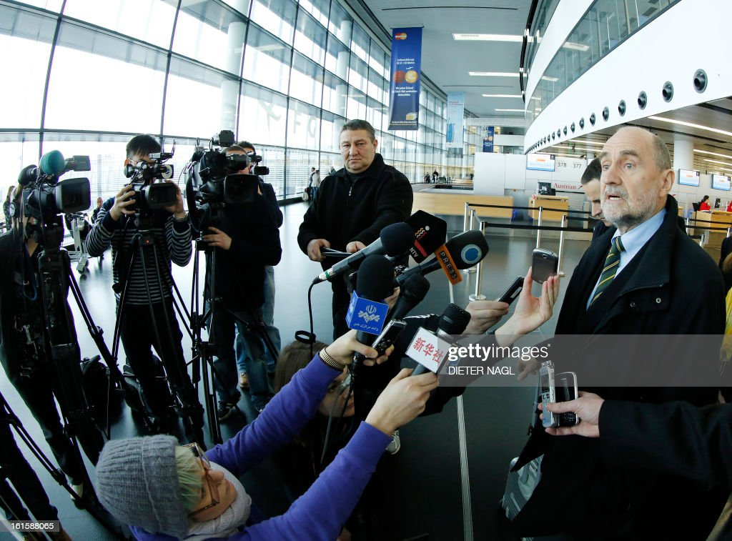 Deputy Director General and Head of the Department of Safeguards Herman Nackaerts (C) talks with journalists as he leaves for another trip with his team to Iran on February 12, 2013 at the Airport Schwechat, near Vienna, Austria. Iran hinted that inspection of the Parchin military site by the International Atomic Energy Agency would be possible in the context of a 'comprehensive agreement' that recongnises its right to peaceful nuclear energy.