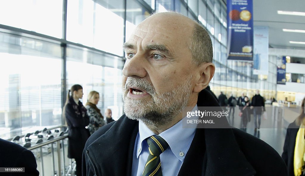 Deputy Director General and Head of the Department of Safeguards Herman Nackaerts talks with journalists as he leaves for another trip with his team to Iran on February 12, 2013 at the Airport Schwechat, near Vienna, Austria. Iran hinted that inspection of the Parchin military site by the International Atomic Energy Agency would be possible in the context of a 'comprehensive agreement' that recongnises its right to peaceful nuclear energy.