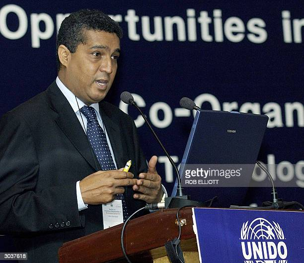 Deputy Director Investment Promotion Centre Mozambique Mussa Usman gestures during an address at the Confederation of Indian Industry United Nations...