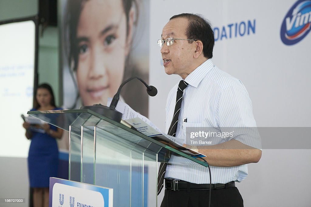 Deputy Director of the Ministry of Education and Training Southern Vietnam Ha Huu Phuc gives a speech during a media briefing during World Toilet Day on November 19, 2012 in Vinh Long, Vietnam.