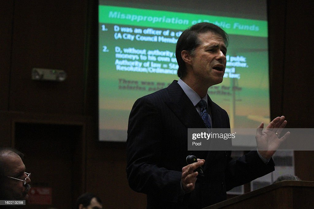 Deputy Dist. Atty. Edward Miller presents closing arguments in the trial of former Bell Mayor Oscar Hernandez and former council members Teresa Jacobo, George Mirabal, Luis Artiga, George Cole and Victor Bello on February 20, 2013 in Los Angeles, California. Six former city officials are charged with misappropriating public funds and, if convicted, can spend 12 to 21 years in prison.