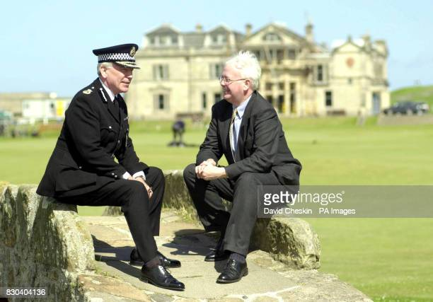 Deputy First Minister Jim Wallace meets Chief Constable of Fife Constabulary John Hamilton on the Swilcan Bridge on the18th fairway to see the...