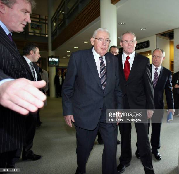 Deputy First Minister Martin McGuinness and First Minister Ian Paisley arrive at the North South Ministerial Council Summit in Dundalk Dissident...
