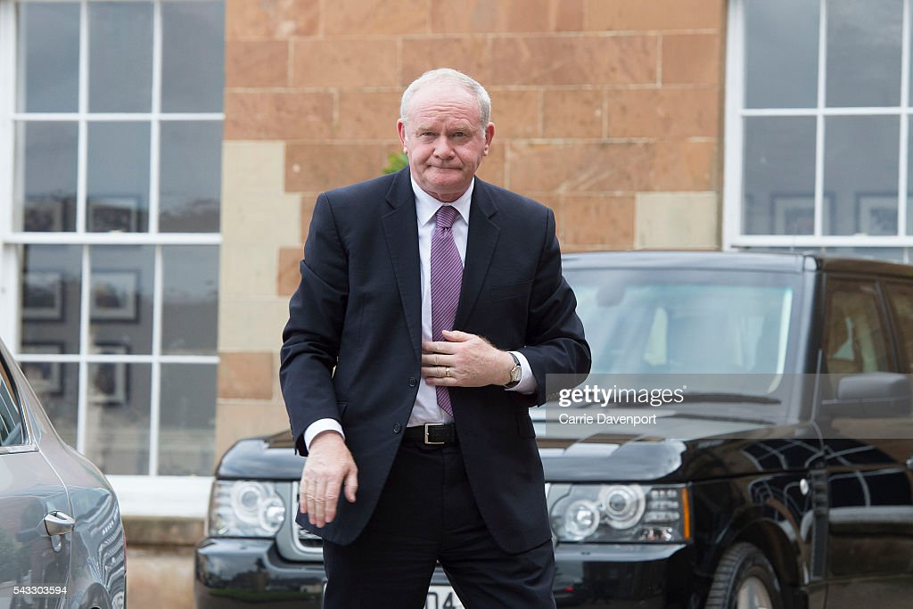 Deputy First Minister <a gi-track='captionPersonalityLinkClicked' href=/galleries/search?phrase=Martin+McGuinness&family=editorial&specificpeople=211317 ng-click='$event.stopPropagation()'>Martin McGuinness</a> arrives at Hillsborough Castle to meet Queen Elizabeth II and Prince Philip, Duke of Edinburgh (not seen) on June 27, 2016 in Belfast, Northern Ireland.