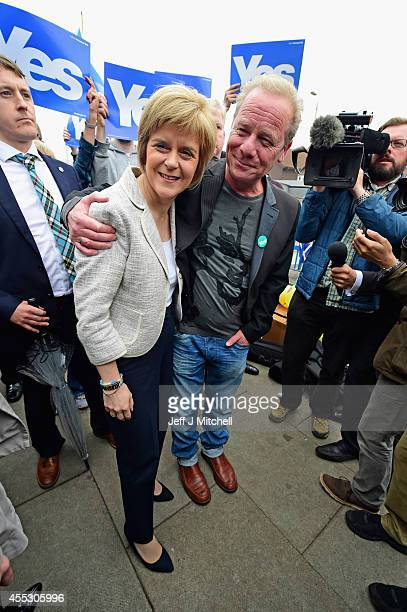 Deputy First Minister Nicola Sturgeon and actor Peter Mullan campaign for the 'Yes' vote in Drumchapel on September 122014 in GlasgowScotland With...