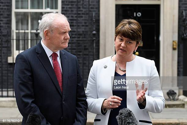 Deputy First Minister of Northern Ireland Martin McGuinness and First Minister of Northern Ireland Arlene Foster speak to journalistsafter a meeting...