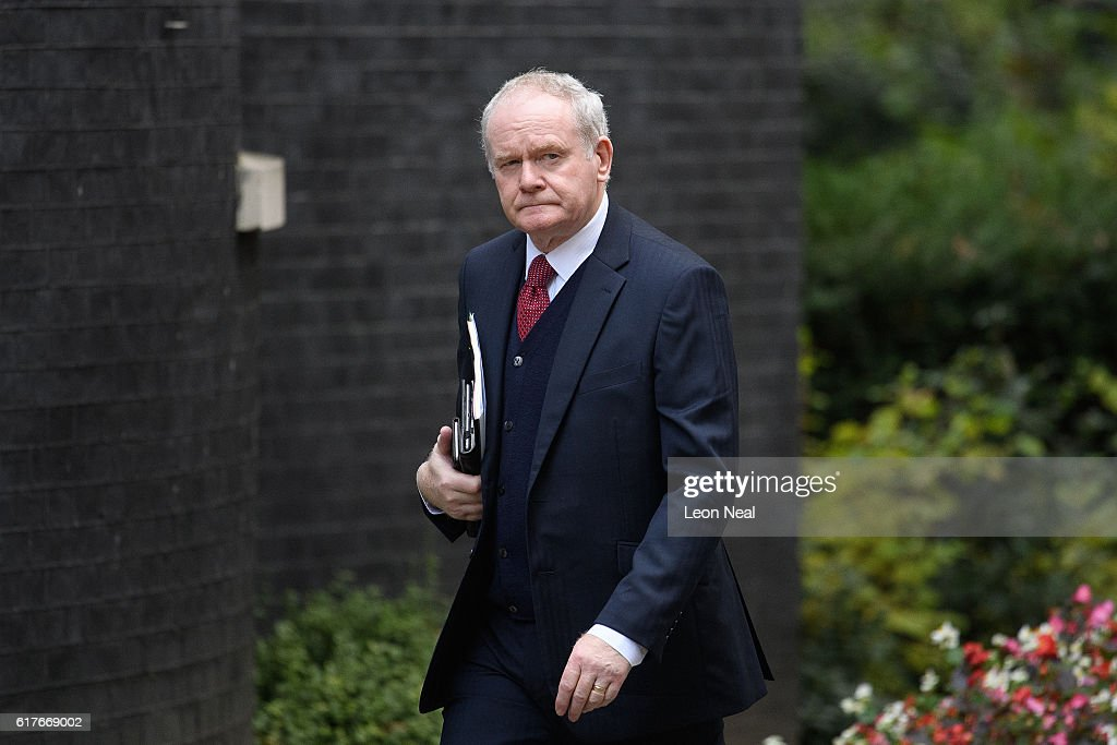 Deputy First Minister of Northern Ireland Martin McGuinness arrives ahead of a meeting between British Prime Minister Theresa May and the leaders of the three devolved governments at 10 Downing Street on October 24, 2016 in London, England. The Scottish and Welsh leaders want the devolved legislatures and Parliament to all have a vote on Brexit Secretary David Davis's approach.