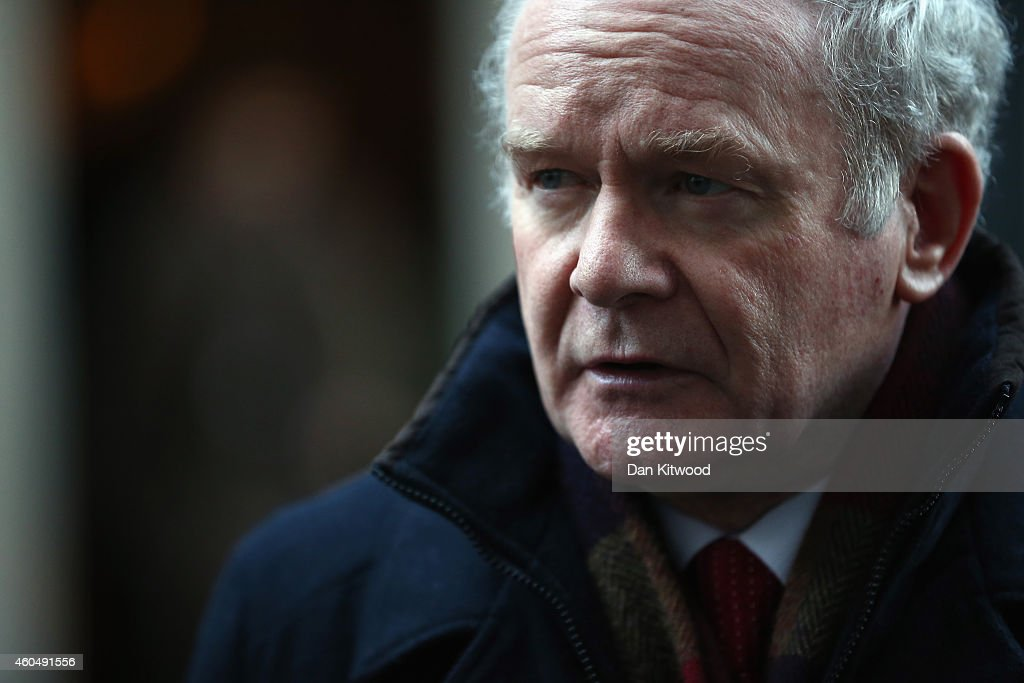 Deputy First Minister of Northern Ireland Martin McGuinness speaks to reporters outside 10 Downing Street on December 15, 2014 in London, England. Mr McGuinness and other Northern Ireland leaders met with British Prime Minister David Cameron today for talks including breaking the deadlock on issues hanging over from the peace process.