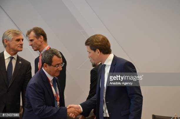 Deputy Foreign Affairs Minister of Turkey Ahmet Yildiz meets with Austria's Minister for Foreign Affairs and Integration Sebastian Kurz during the...