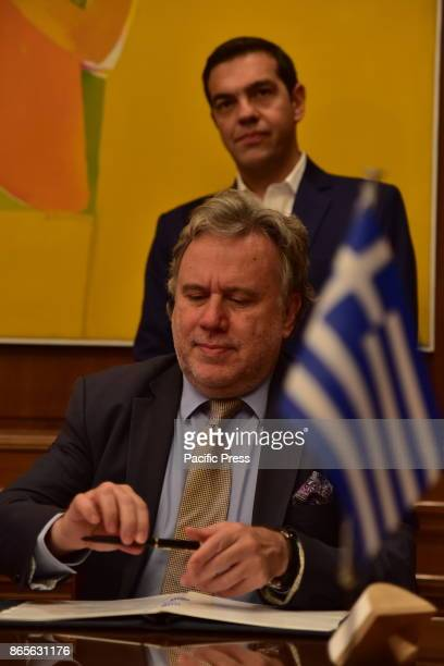 MANSION ATHENS ATTIKI GREECE Deputy Foreign Minister Giorgos Katrougalos puts his signature for the memorandum of cooperation between Greece and...
