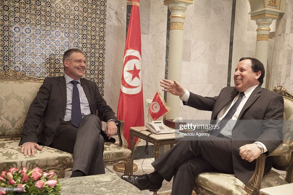 Deputy Foreign Minister of Germany, Markus Ederer (L) meets with Tunisian Minister of Foreign Affairs, Khemaies Jhinaoui (R) during his official visit, in Tunis, Tunisia on May 26, 2016.