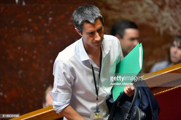 Deputy Francois Ruffin arrives for the weekly questions to the government at Assemblee Nationale on July 19 2017 in Paris France
