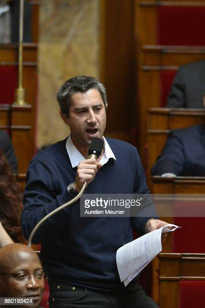 Deputy Francois Ruffin asks a question to Ministers during the weekly questions to the government at the Assemblee Nationale on October 11 2017 in...