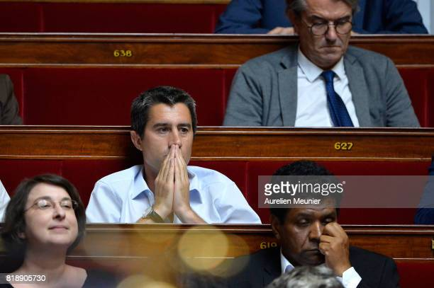 Deputy Francois Ruffin reacts as Ministers answer deputies during the weekly questions to the government at Assemblee Nationale on July 19 2017 in...