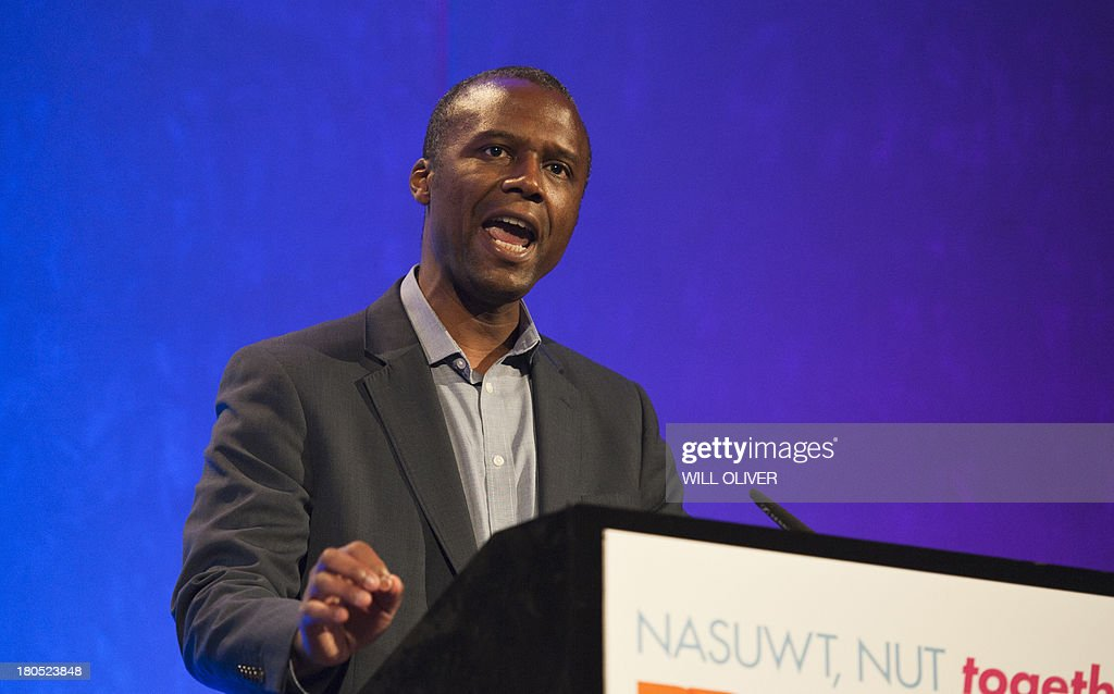 Deputy General Secretary of the UK teachers trade union NASUWT Patrick Roach addresses a rally of the NUT and NASUWT trade unions at the Queen...