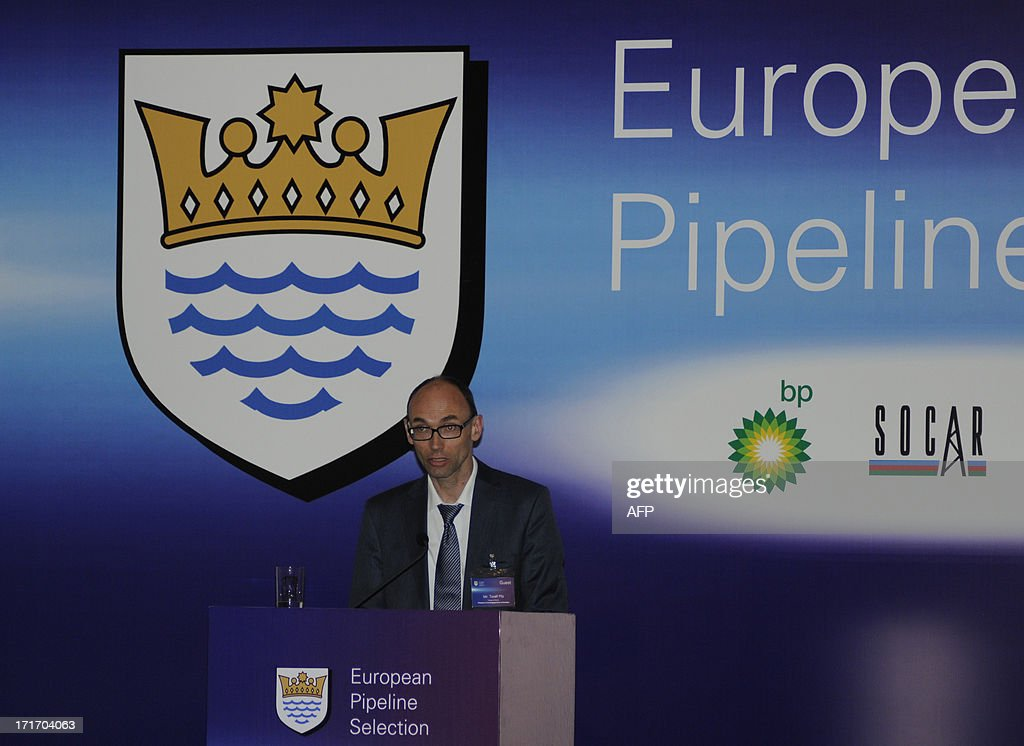 Deputy Head of the EU Delegation to Azerbaijan,Toralf Pilts, speaks in Baku, the capital of Azerbaijan, on June 28, 2013. The Shah Deniz II consortium of Britain's BP, Azerbaijan's SOCAR, Norway's Statoil and France's Total developing an immense new Azeri gas field, part of European efforts to reduce dependence on Russia, said today it had chosen the shorter, cheaper Trans-Adriatic Pipeline (TAP) over the rival Nabucco project.
