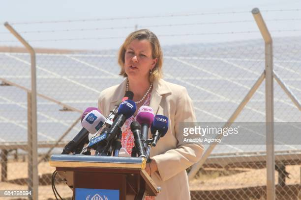 Deputy High Commissioner for Refugees at UNHCR Kelly Clements speaks during the opening ceremony of a new solar power plant project by IKEA...