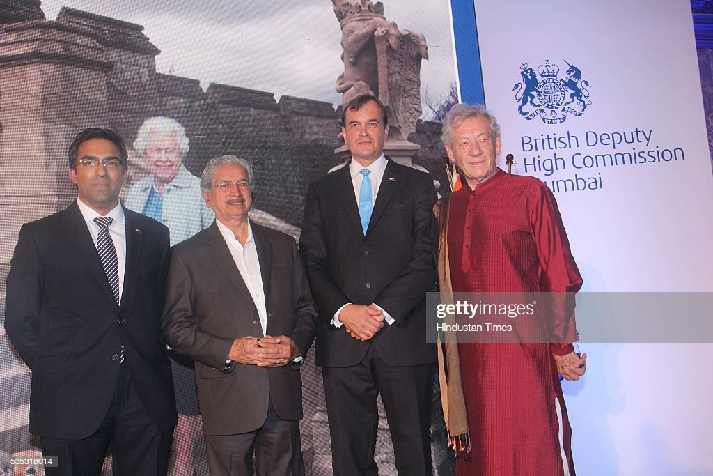 Deputy High Commissioner Kumar Iyer, Maharashtra Industry Minister Subhash Desai, British High Commissioner Sir Dominic Asquith and Hollywood actor Ian McKellen (L) during the 90th birthday celebrations of Queen Elizabeth II, hosted by the British Deputy High Commissioner Shekhar Iyer, at Crystal Room, Taj Mahal Palace, Colaba on May 26, 2016 in Mumbai, India. Hollywood actor McKellen said, 'I am thankful to the British Council who got me here. It's touching to make contact with other people from theatre, film and Bollywood.'