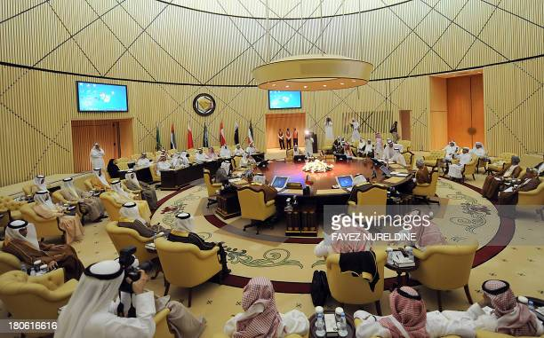Deputy Interior Ministers of the Gulf Cooperation Council attend a meeting of GCC's on September 15 2013 in Riyadh The meeting of senior officials of...