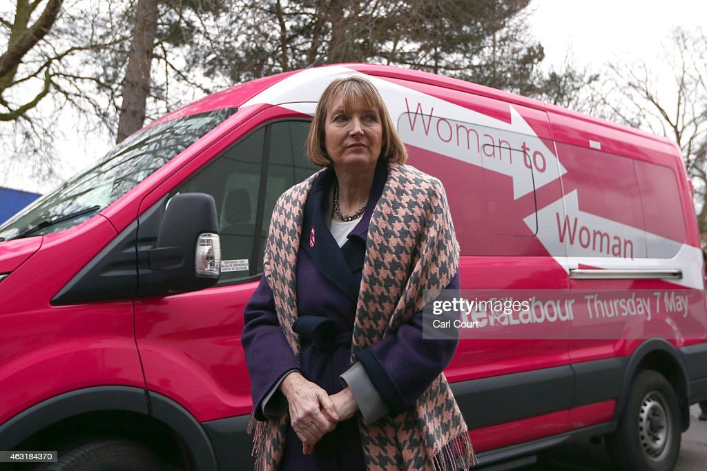 Deputy Labour leader, <a gi-track='captionPersonalityLinkClicked' href=/galleries/search?phrase=Harriet+Harman&family=editorial&specificpeople=839866 ng-click='$event.stopPropagation()'>Harriet Harman</a>, stands next a pink van launched during a Labour campaign aimed at women voters before a speech on February 11, 2015 in Stevenage, England. Harman has come under fire from a number of commentators who have claimed the pink colour-work is sexist and patronising.