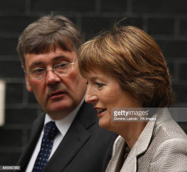 Deputy leader Harriet Harman and Defence Secretary Bob Ainsworth arrive in Downing Street to attend the first Cabinet meeting since the reshuffle...
