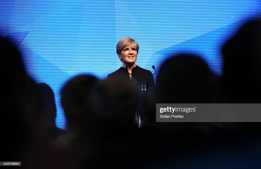 Deputy Leader <a gi-track='captionPersonalityLinkClicked' href=/galleries/search?phrase=Julie+Bishop&family=editorial&specificpeople=1198450 ng-click='$event.stopPropagation()'>Julie Bishop</a> speaks during the Liberal Party 2016 Federal Campaign Launch on June 26, 2016 in Sydney, Australia. Malcolm Turnbull's speech centred on the importance of the economic plan and stability, especially in the wake of Brexit.