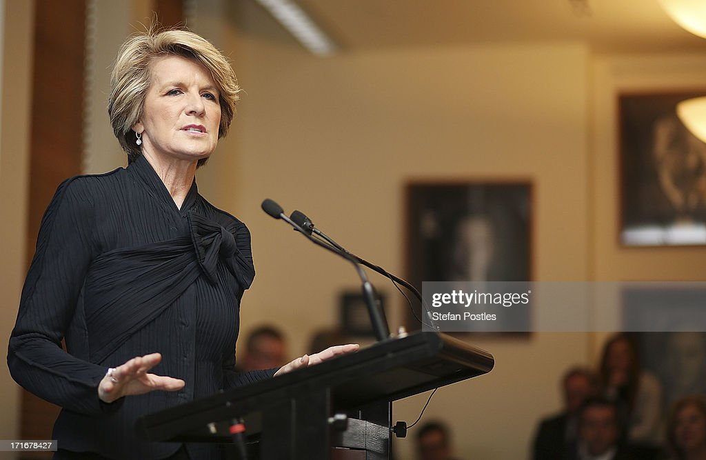 Deputy Leader <a gi-track='captionPersonalityLinkClicked' href=/galleries/search?phrase=Julie+Bishop&family=editorial&specificpeople=1198450 ng-click='$event.stopPropagation()'>Julie Bishop</a> speaks to Coalition MPs in the party room on June 28, 2013 in Canberra, Australia. Abbott questioned the credibility of Kevin Rudd's new front bench during his address to Coalition MPs, one day after Kevin Rudd was sworn in as Prime Minister following a Labor party leadership ballot.