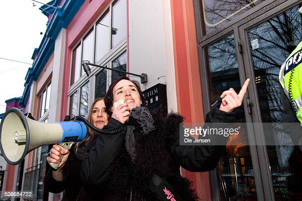 Deputy leader of Pegida UK Anne Marie Waters speaks at an antiMuslim and antiimmigration demonstration at Axeltorv in Copenhagen The demo was...