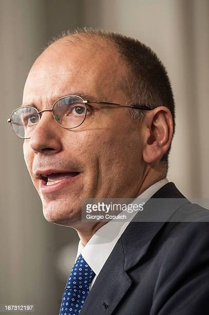 Deputy leader of the centre left Democratic Party Enrico Letta talks to the press after being appointed by President Giorgio Napolitano to form a new...