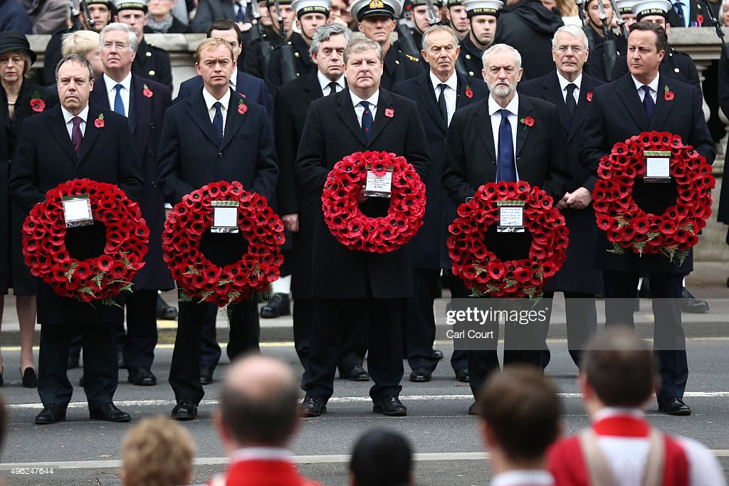 Deputy leader of the Democratic Unionist Party Nigel Dodds, Liberal Democrat leader Tim Farron, Scottish National Party's Parliamentary Group Leader Angus Robertson, Labour leader Jeremy Corbyn and British Prime Minister David Cameron attend the annual Remembrance Sunday Service at the Cenotaph on Whitehall on November 8, 2015 in London, United Kingdom. People across the UK gather to pay tribute to service personnel who have died in the two World Wars and subsequent conflicts.