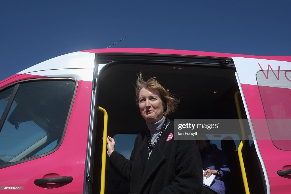 Deputy Leader of the Labour Party and Shadow Deputy Prime Minister, <a gi-track='captionPersonalityLinkClicked' href=/galleries/search?phrase=Harriet+Harman&family=editorial&specificpeople=839866 ng-click='$event.stopPropagation()'>Harriet Harman</a> travels on Labour's pink bus to a meeting with women voters on April 11, 2015 in Stockton-on-Tees, England. The visit came as part of Labour's campaign ahead of the General Election on May 7 which is predicted to be Britain's closest national election.